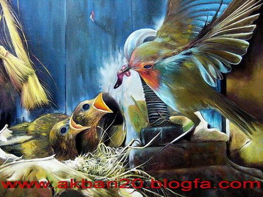 1 _ نقاشی از حیوانات رنگ و روغن از حسین اکبری oil painting  نقاشی های حسین اکبری