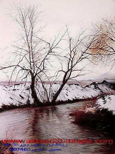 نقاشی منظره رنگ و روغن روی کاغذ از حسین اکبری