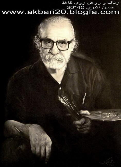نقاشی از حسین اکبری رنگ و روغن روی کاغذ